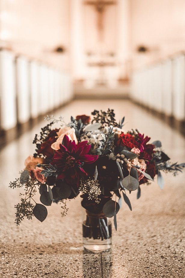 Elegant Fall Wedding bouquet with burgundy and greenery - Aileen Elizabeth Photography