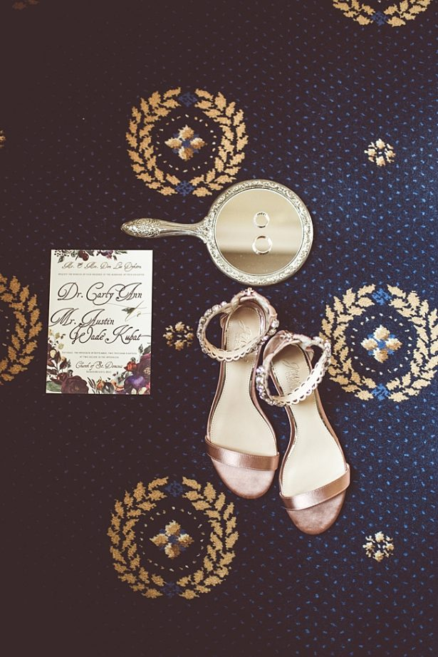Elegant Fall Wedding details with Badley Mischka wedding heels and silver mirror - Aileen Elizabeth Photography