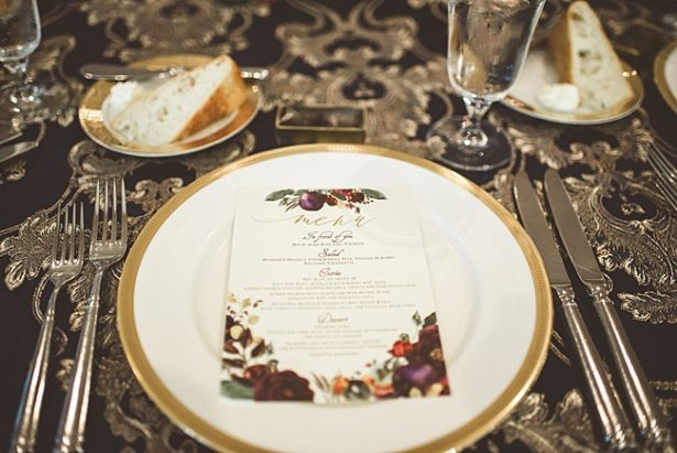 l Wedding dinner menu for seated reception dinner - Aileen Elizabeth Photography