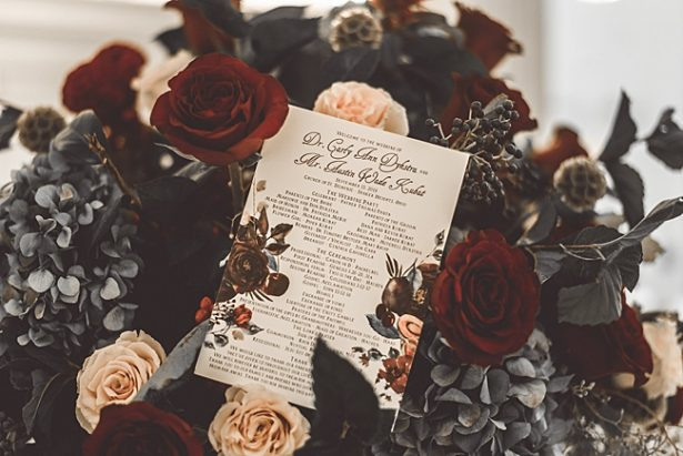 Elegant Fall Wedding invitation on burgundy wedding bouquet - Aileen Elizabeth Photography