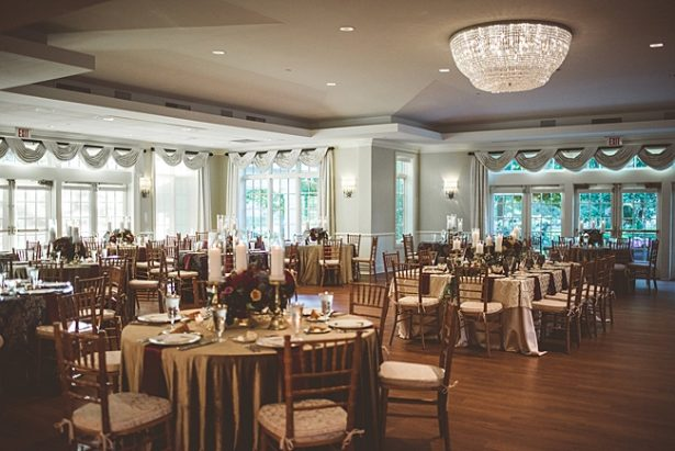Elegant Fall Wedding reception with gold and burgundy details - Aileen Elizabeth Photography
