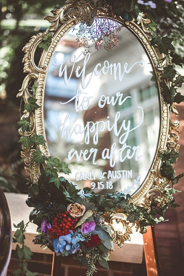 Elegant Fall Wedding welcome sign with calligraphy on a mirror - Aileen Elizabeth Photography
