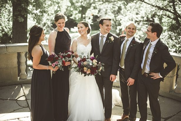 Fun photo of bridal party laughing with bride and groom - Aileen Elizabeth Photography