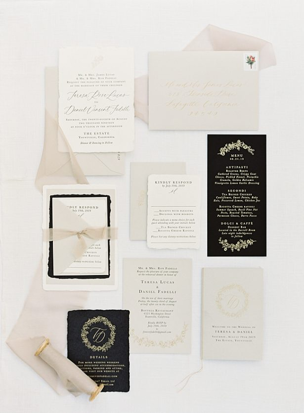 Napa Wedding Elegant Invitation suite with black and grey invitations - O'Malley Photography