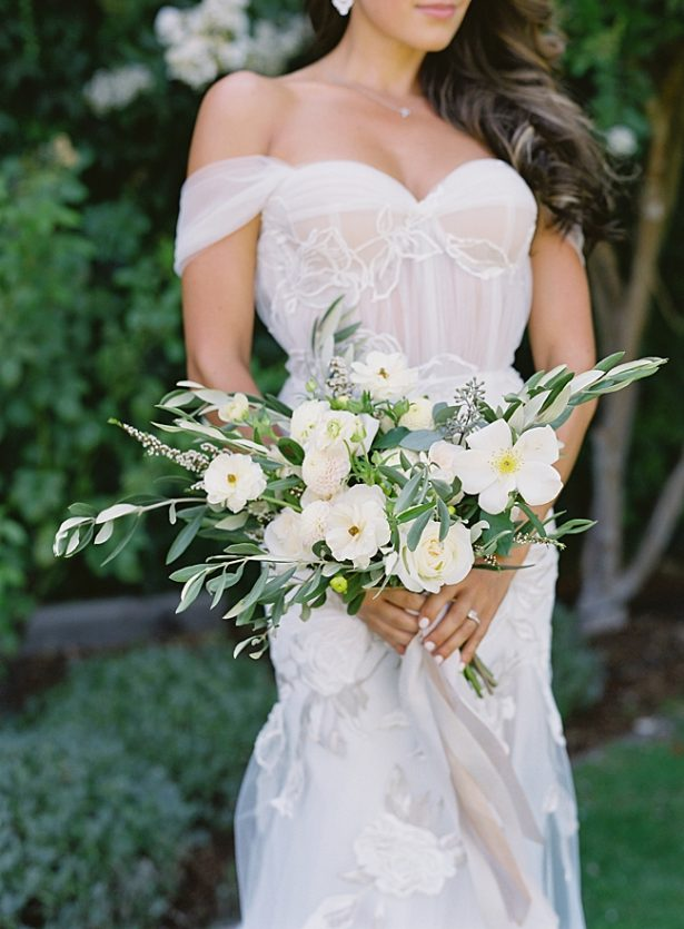 Napa Wedding romantic white and greenery wedding bouquet- O'Malley Photography