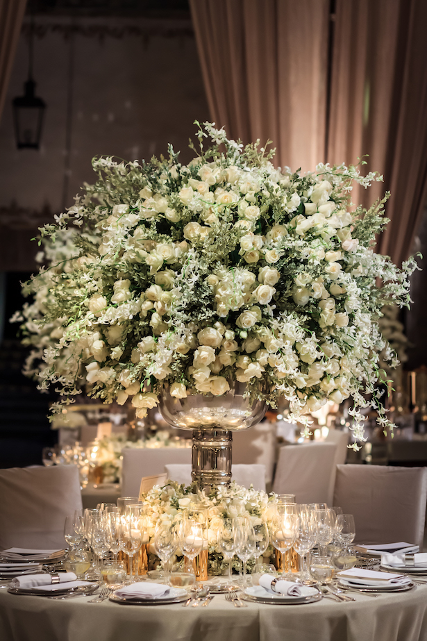 Opulent Luxury Wedding centerpiece with h white flowers - Photography: Vincent Zasil