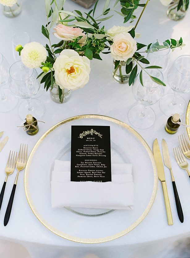 Romantic black reception dinner menu with gold place setting- O'Malley Photography
