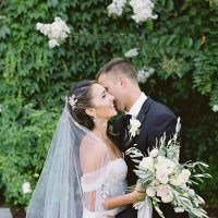 Romantic wedding look for bride and groom black tie wedding in Napa - O'Malley Photography