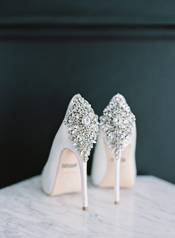 Stunning white badgley mischka wedding heels with diamond details - O'Malley Photography
