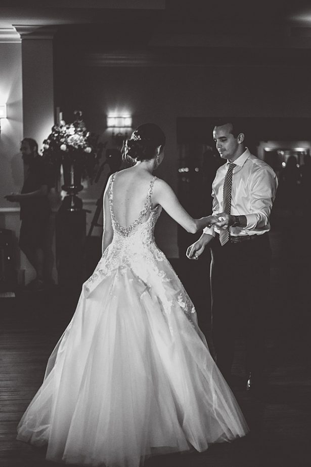 black and white photo of bride and groom during their first dance - Aileen Elizabeth Photography