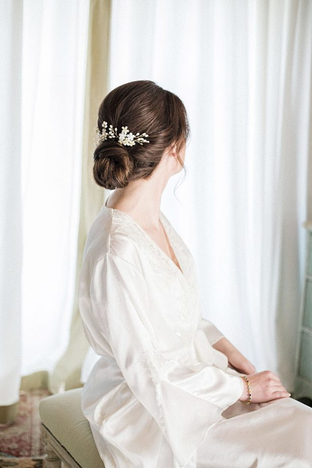 Classic bridal updo with jeweled pin - Purewhite Photography