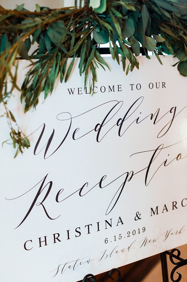 Country Club Wedding reception white calligraphy welcome sign - Bluespark Photography