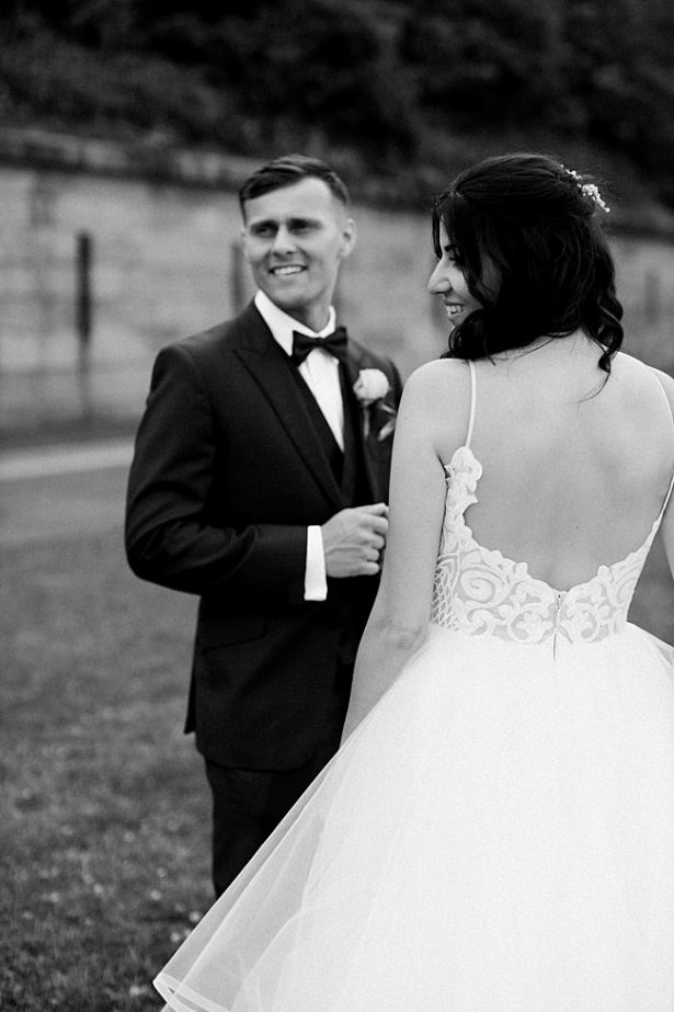 Country Club Wedding with bride in low back lace and tulle ballroom gown - Bluespark Photography