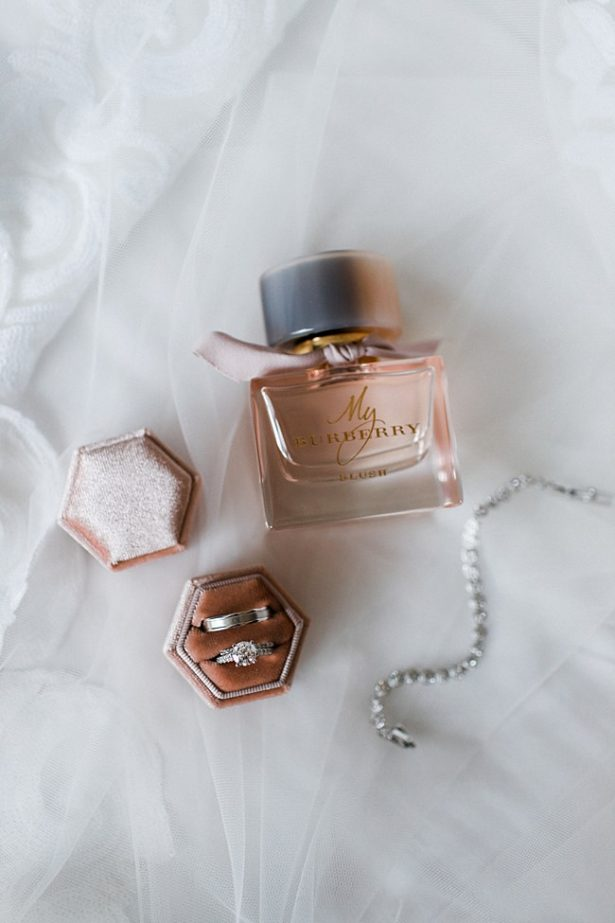 My burberry perfume for bride and white gold wedding bands and tennis bracelet - Bluespark Photography