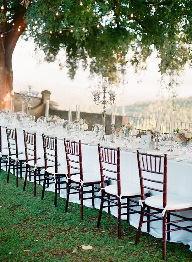 Romantic outdoor Tuscany Wedding reception dinner table - Purewhite Photography