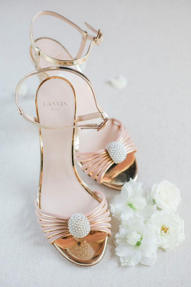 Rose gold Lanvin wedding heels with straps- Purewhite Photography