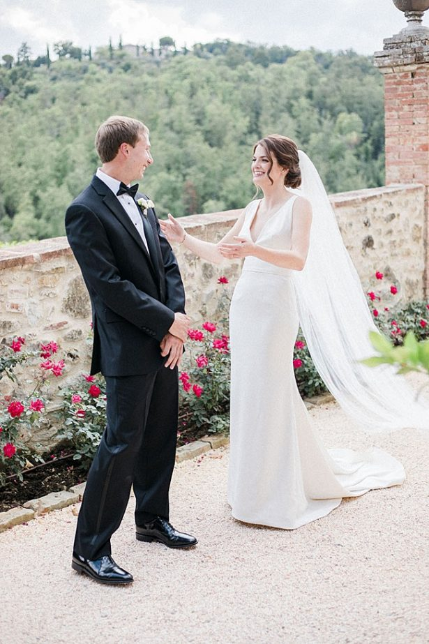 Tuscany Wedding first look with bride and groom - Purewhite Photography