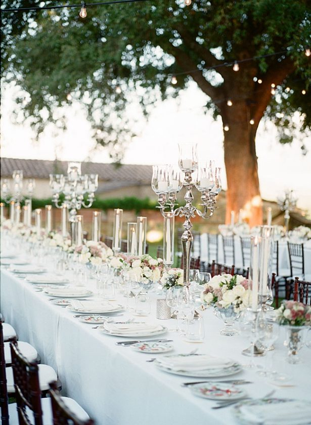 Tuscany Wedding outdoor wedding reception tablescape with candelabras - Purewhite Photography