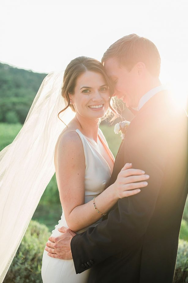 Tuscany Wedding photo of bride and groom at sunset - Purewhite Photography