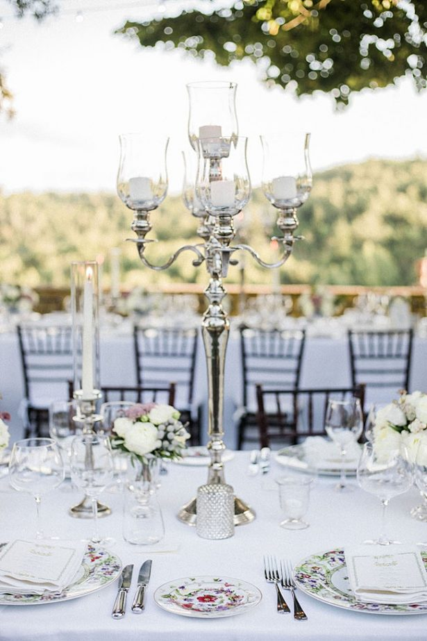 Tuscany Wedding reception place setting decor with candleabra - Purewhite Photography