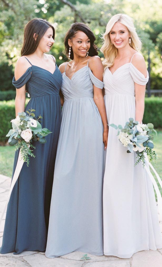 Blue long bridesmaid dresses by Reverly
