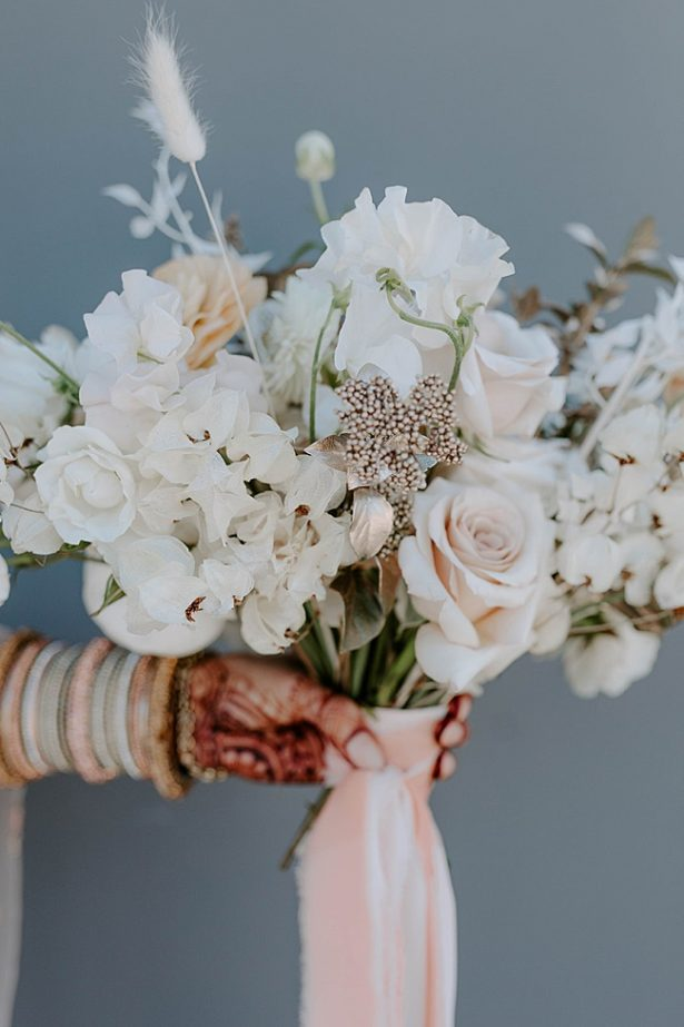 Boho white wedding bouquet with pink ribbons- Foolishly Rushing In Photography