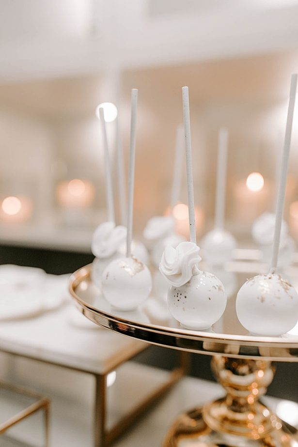 Chic white and gold wedding cake pops- Foolishly Rushing In Photography