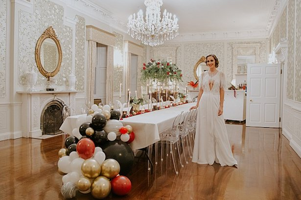 Wedding tablescape with balloon garland - Jamie Sia Photography