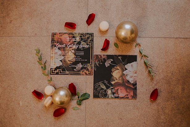 Black wedding invitation - Jamie Sia Photography