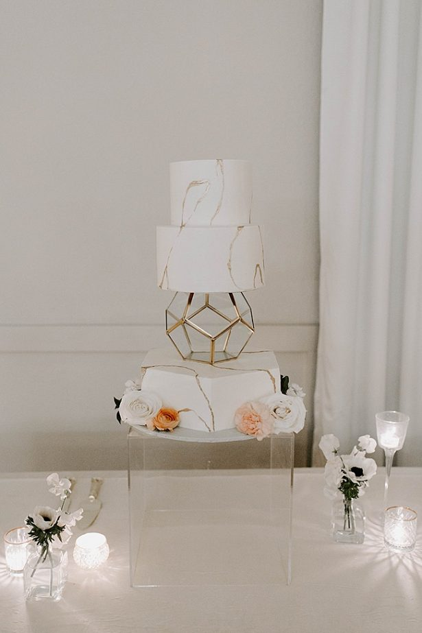 Modern South Asian Wedding-cake-with white and gold details- Foolishly Rushing In Photography