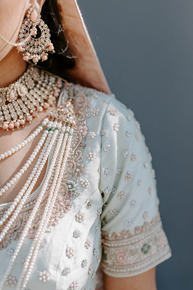 Modern South Asian Lehenga Wedding dress with beading -- Foolishly Rushing In Photography