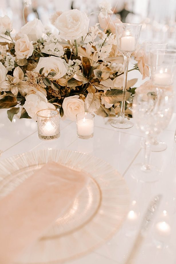 Modern Wedding reception centerpiece with white flowers- Foolishly Rushing In Photography