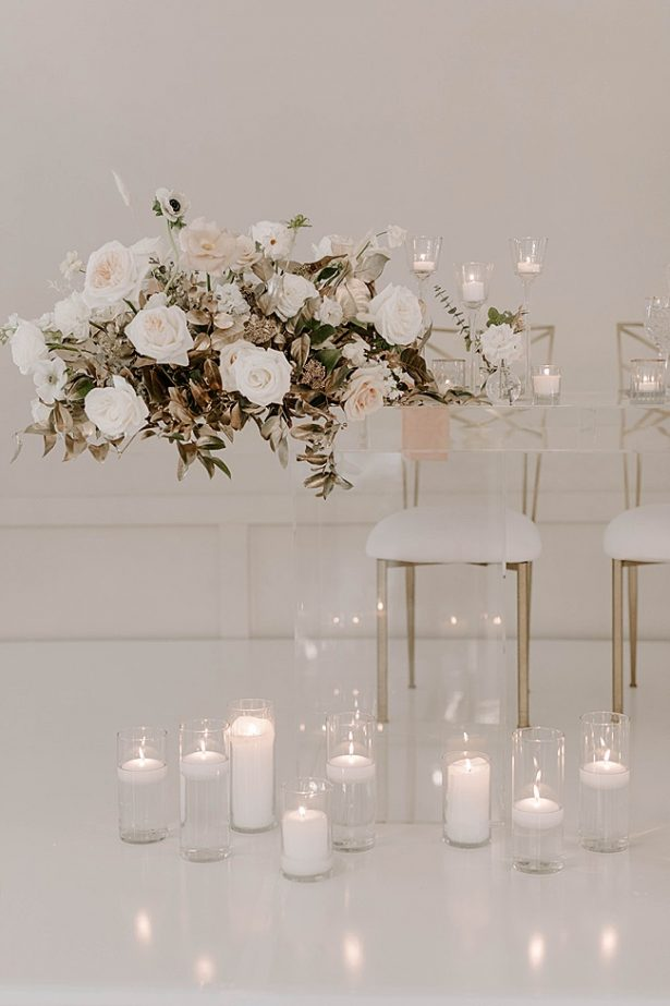 White modern wedding sweetheart table- Foolishly Rushing In Photography