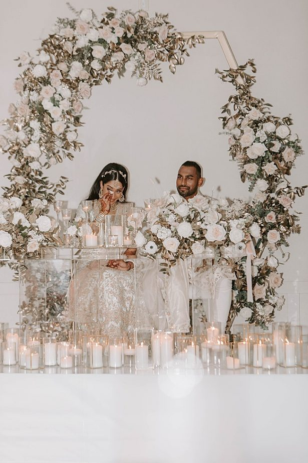 Modern South Asian Wedding sweetheart table for speeches- Foolishly Rushing In Photography