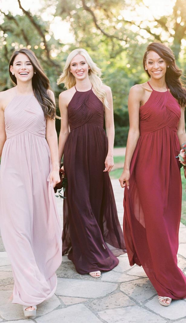 Pink, burgundy and blush long bridesmaid dresses by Reverly