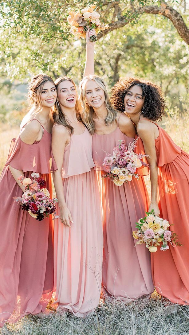 Pink, peach, salmon, blush and orange long bridesmaid dresses by Reverly
