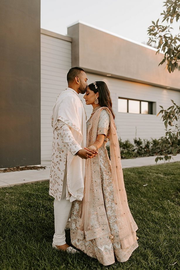Romantic Indian wedding attire for bride and groom- Foolishly Rushing In Photography