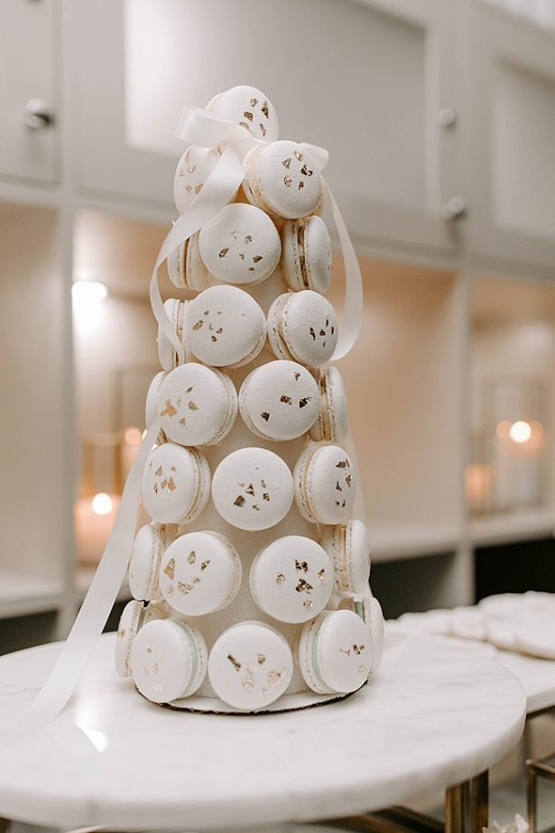Unique white macaron wedding dessert display- Foolishly Rushing In Photography