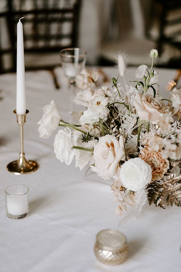 Unique white and gold wedding reception centerpieces- Foolishly Rushing In Photography