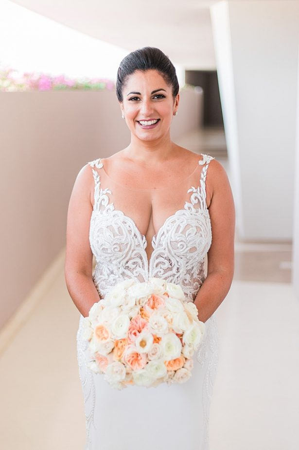 Cabo Destination Wedding bridal portrait of bride in spaghetti strap wedding dress with lace - Photography: JBJ Pictures