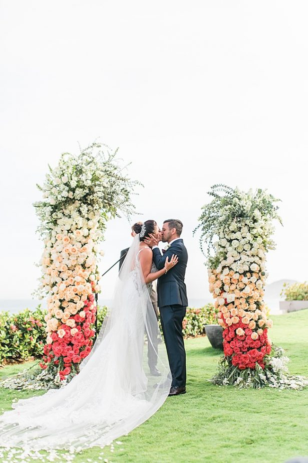 Cabo Destination Wedding ceremony first kiss - Photography: JBJ Pictures