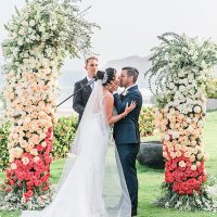 Cabo Destination Wedding ceremony shot of first kiss for bride and groom - Photography: JBJ Pictures