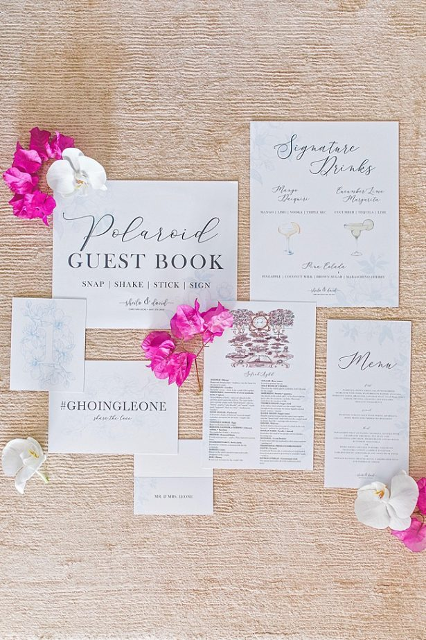 Cabo Destination Wedding invitation suite and signature cocktail sign - Photography: JBJ Pictures