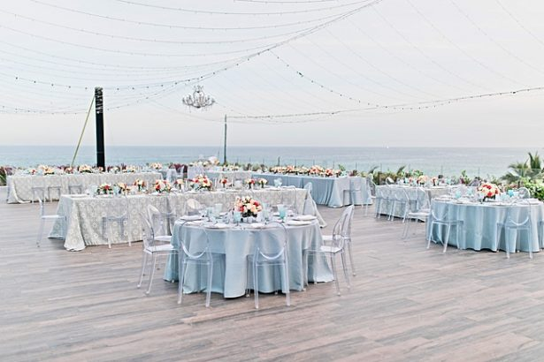 Cabo Destination Wedding reception outside under string lights - Photography: JBJ Pictures