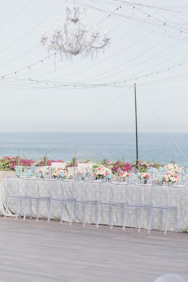 Cabo Destination Wedding reception overlooking the water with string lights - Photography: JBJ Pictures