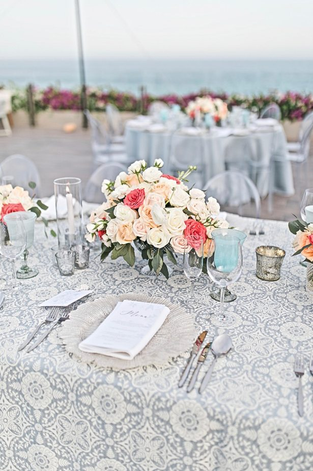 Cabo Destination Wedding reception with blue and peach - Photography: JBJ Pictures