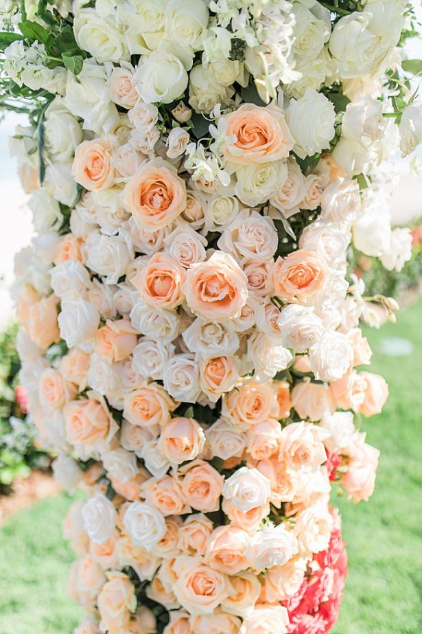 Cabo Destination Wedding with peach wedding flowers - Photography: JBJ Pictures