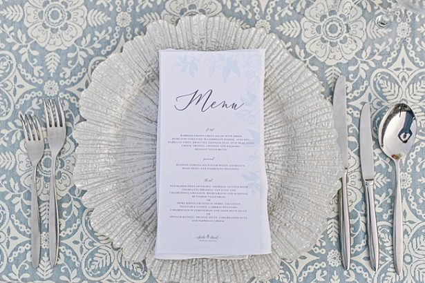 Classy blue and white wedding reception place setting with menu - Photography: JBJ Pictures