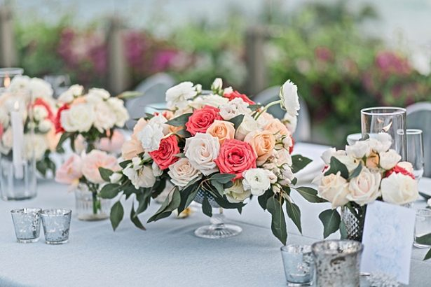 Peach and white wedding reception table centerpiece - Photography: JBJ Pictures