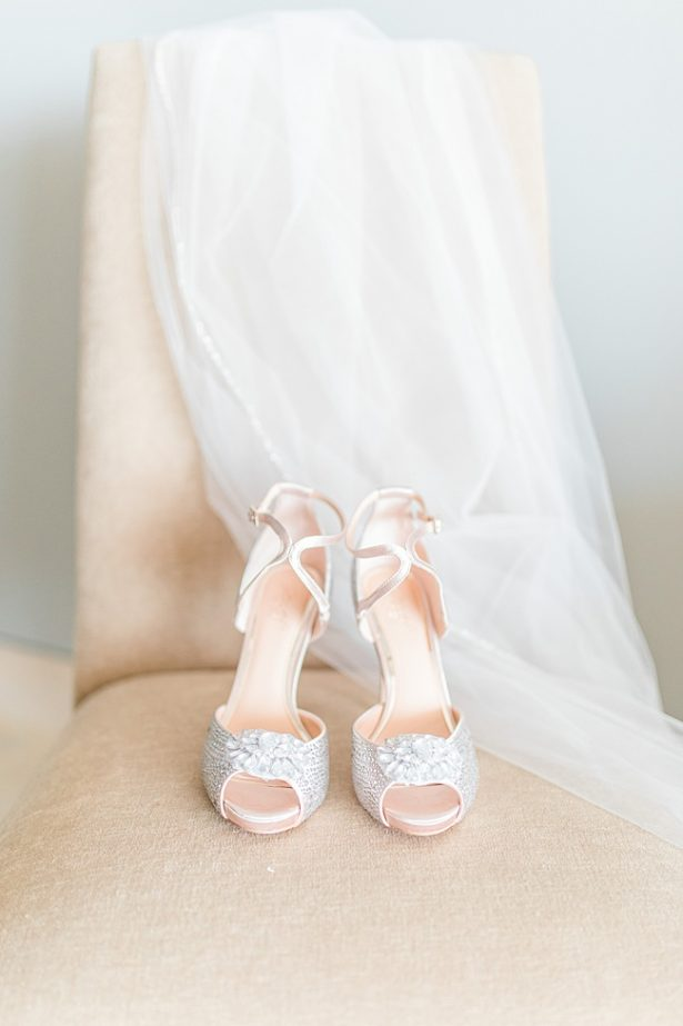 Tall silver wedding heels with sparkle and veil for bride - Photography: JBJ Pictures